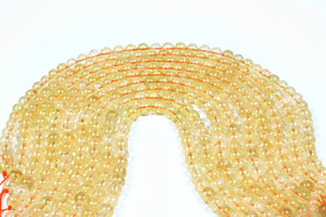 Citrine Gemstone Beads Loose Spacer Round Smooth DIY Jewelry Supply Wholesale