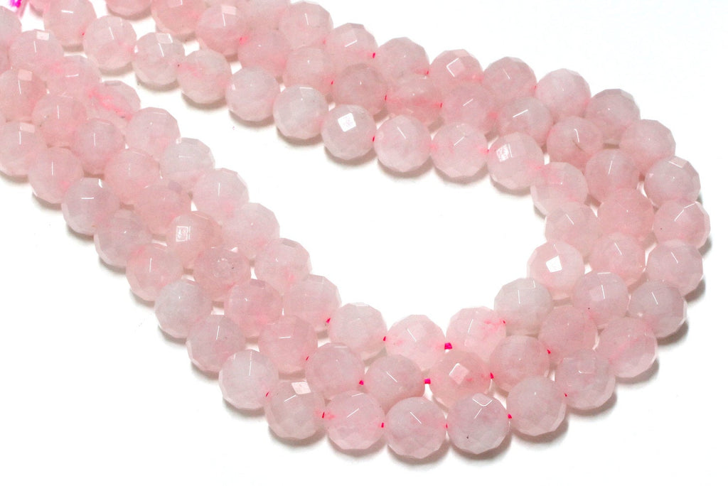 Rose Quartz Round Ball Loose Beads Natural Faceted Bulk Gemstone Jewelry Making