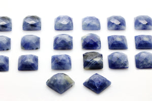Sodalite Faceted Cabochon Natural Blue Square Gemstone Wholesale Jewelry Making