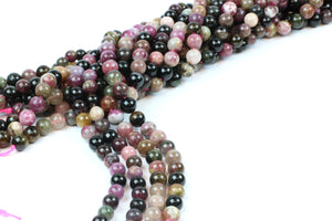 Tourmaline 6mm Smooth Round Natural Gemstone Beads DIY Beading Jewelry Making