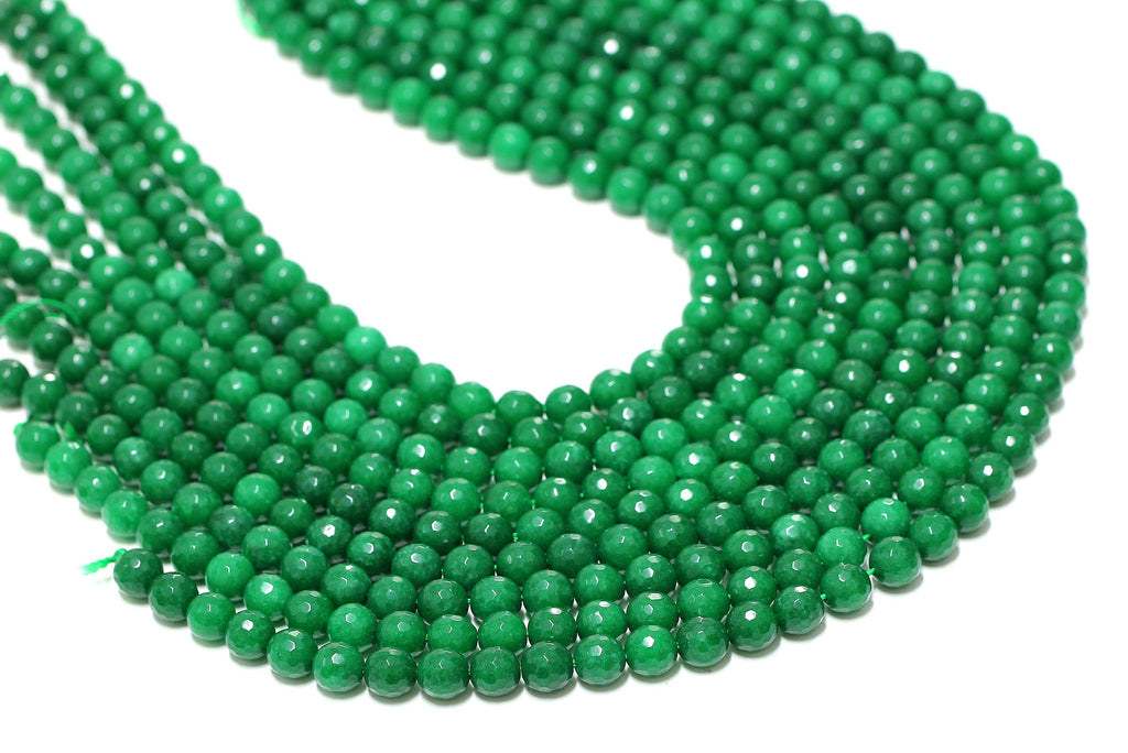 "Natural Green Jade Beads Faceted Loose Gemstone Jewelry Supply 16"" Full Strand"
