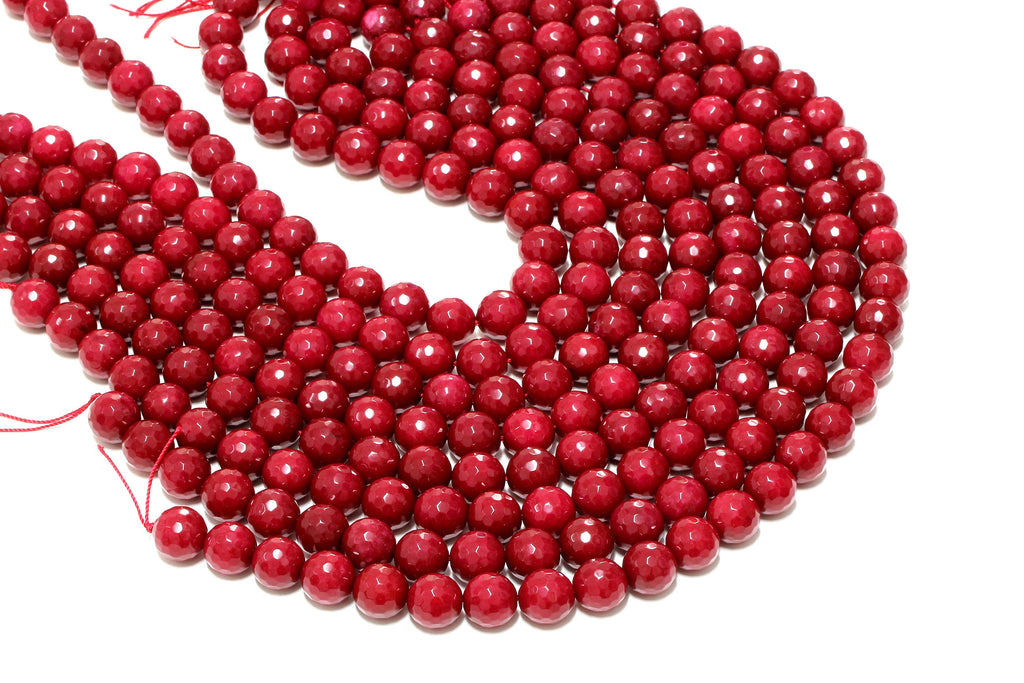 10mm Red Jade Beads Round Faceted Loose Spacer Gemstone Jewelry Supply