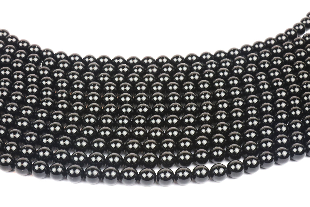 6mm Natural Black Smooth Onyx Gemstone Semiprecious Loose Spacer Strand Beads