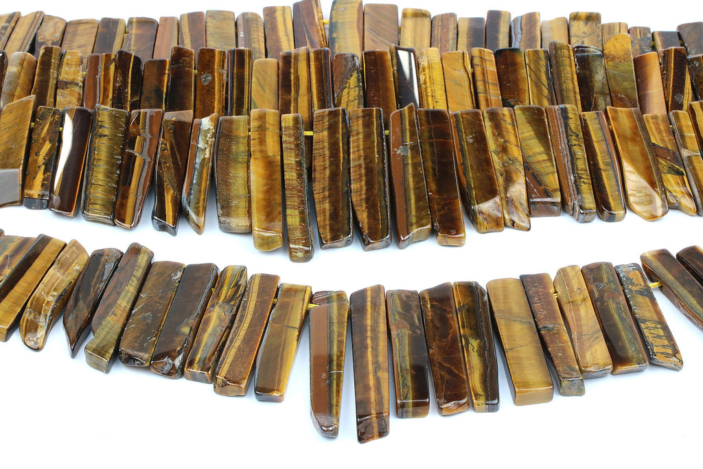 Tiger Eye Gemstone Beads Long Loose Rectangle Natural Jewelry Making Crystal Gem