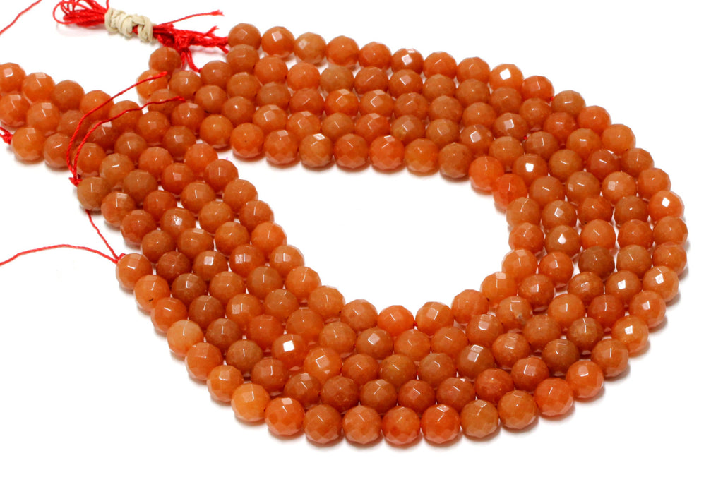 "Semiprecious Natural Orange Aventurine Beads Round 16"" Strand Jewelry Making Gem"