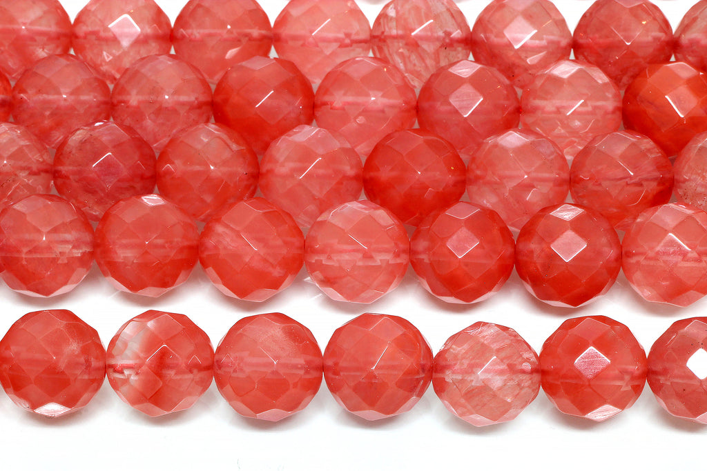 Cherry Quartz Beads Round 6mm Faceted Loose Gemstone Jewelry Making Craft Supply