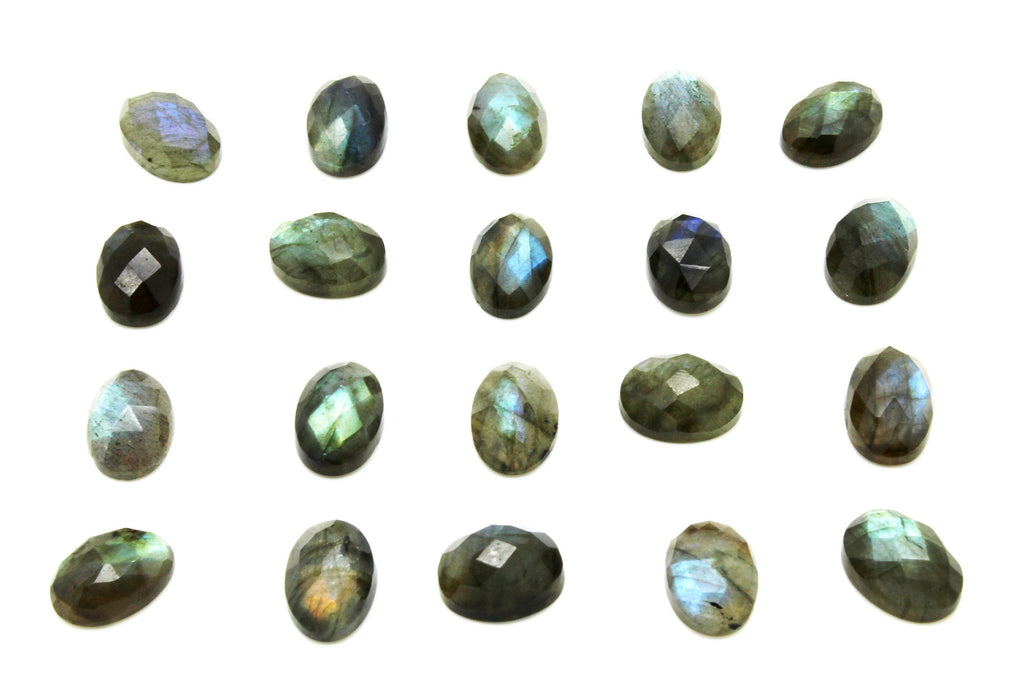 Natural Oval Labradorite Faceted Cabochon Gemstone Wholesale Loose Jewelry Stone