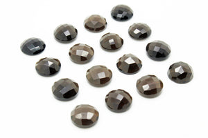 16mm Natural Smoky Quartz Faceted Cabochon Loose Bulk Round Delicate Gemstone