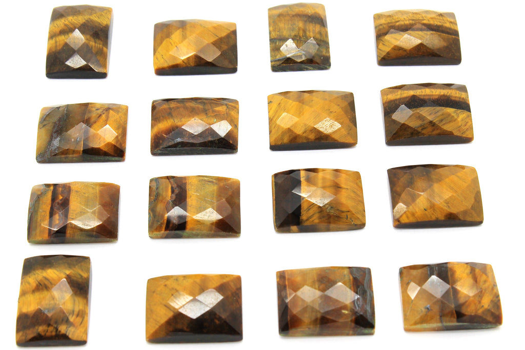 Tiger Eye Rectangle AA Gemstone Faceted Natural Cabochon Loose Jewelry Making