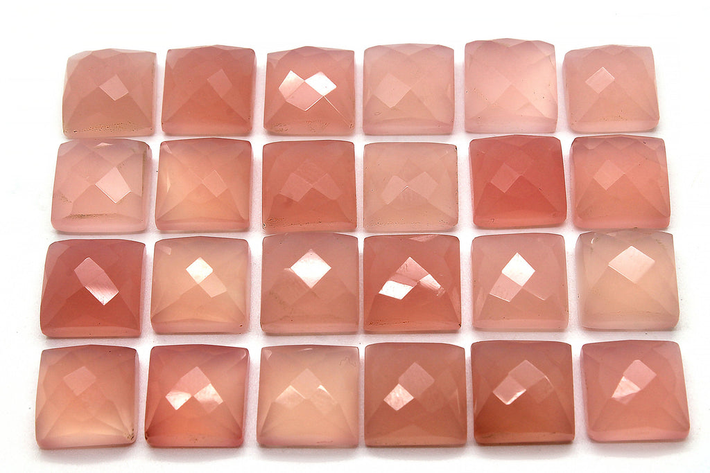 Natural Pink Chalcedony Gemstone Square Faceted Cabochon DIY Jewelry Supplies