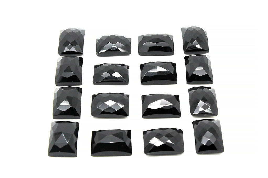 Rectangle Cabochon Onyx Black Gemstone Loose Natural Faceted Calibrated 13x18mm