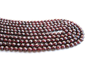 "8mm Natural Round Cherry Red Garnet Beads Loose Faceted 16"" Strand Bulk Gemstone"