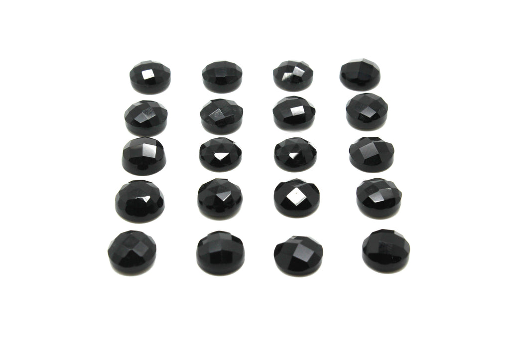 Calibrated Black Onyx Natural AA Round Faceted Cabochon Gemstone Jewelry Making