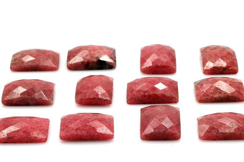 Rectangle Natural Rhodonite Gemstone Faceted AA Cabochon DIY Jewelry Bulk Sale