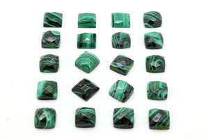 8x8mm Square Natural AA Malachite Cabochon Gemstone Wholesale Stone Faceted Gem
