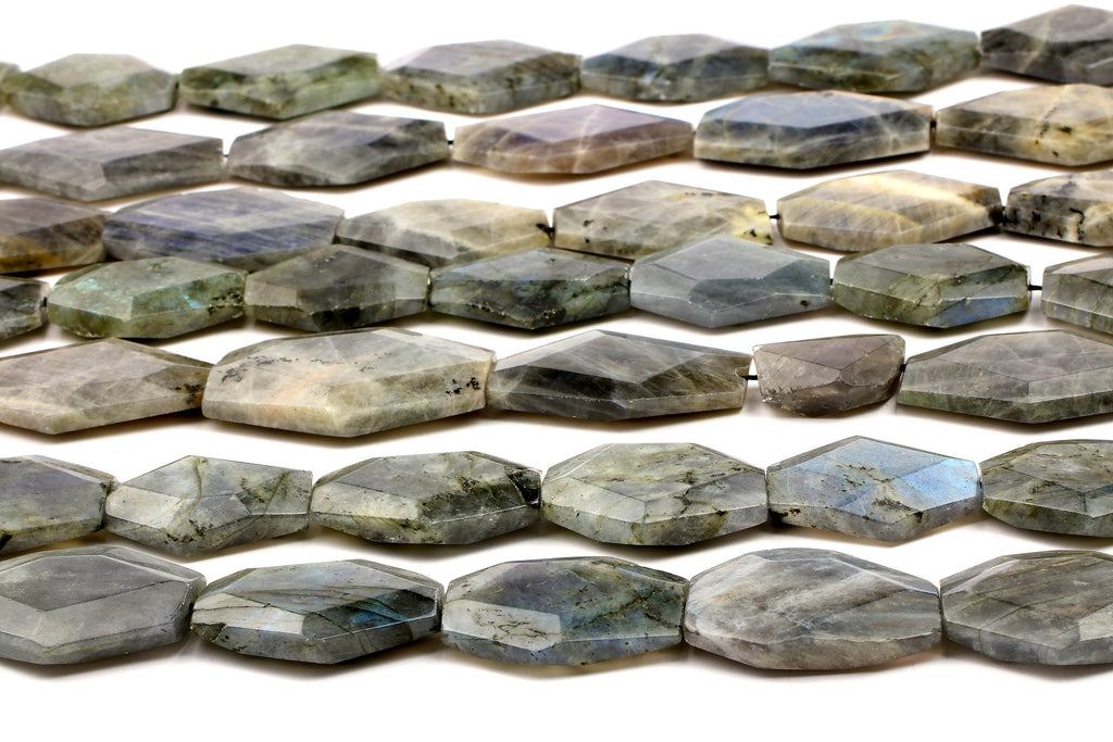 "Natural Labradorite Slabs Faceted Gemstone Large Beads Jewelry Making 16"" Strand"