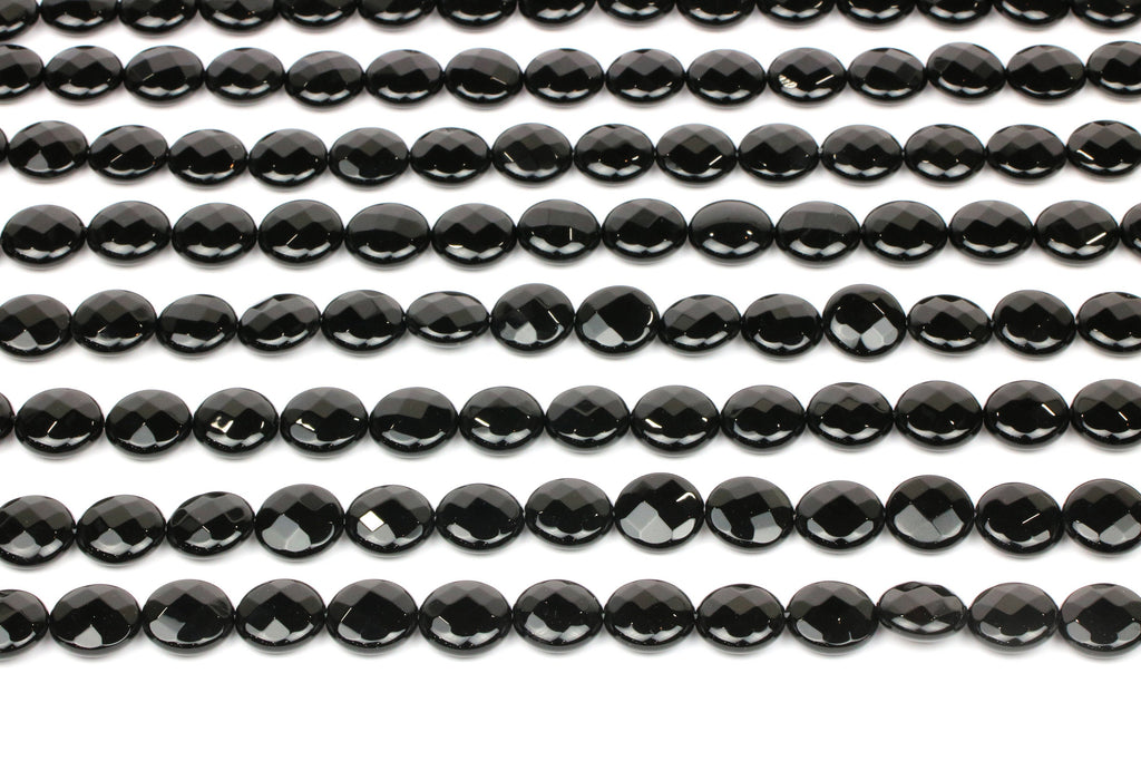 Black Onyx Coin Beads Natural Jewelry Making Gemstone Faceted Loose Stone 10mm