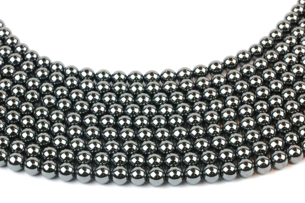 Wholesale 8mm Smooth Round Natural Hematite Gemstone Jewelry Making Loose Beads