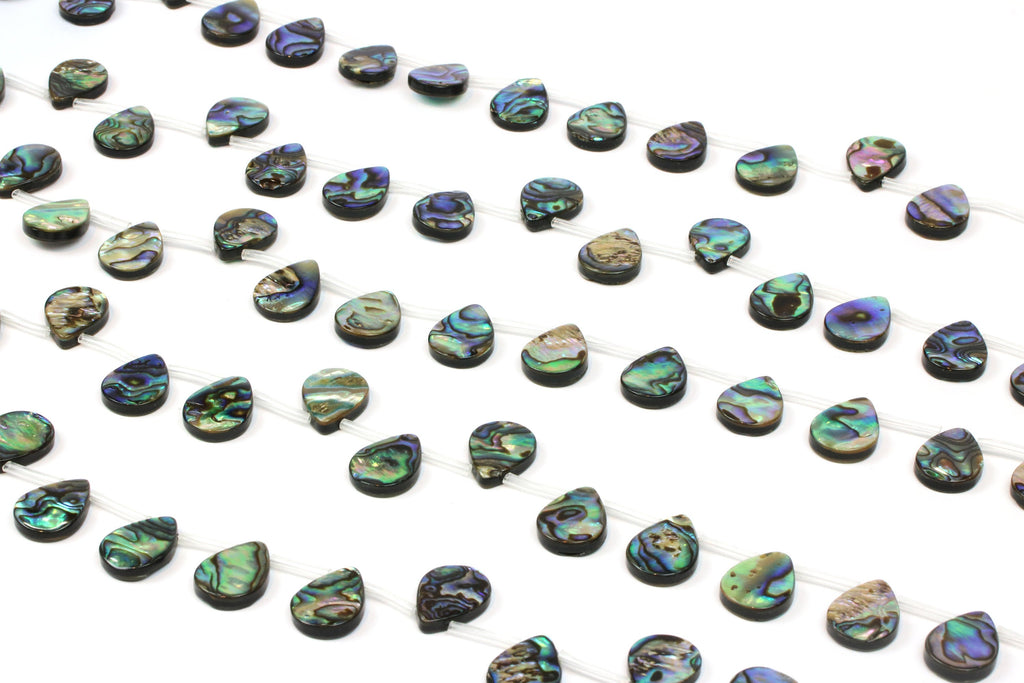 Top Drilled Natural Abalone Shell Teardrop Gemstone Bead 10 Beads Per Strand