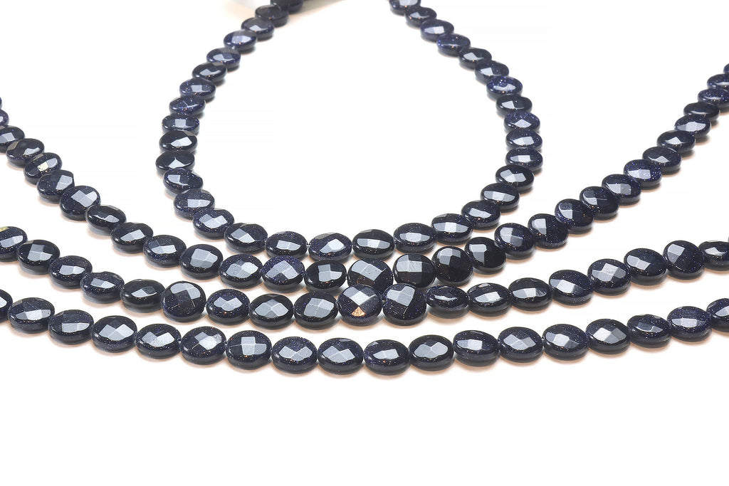 Blue Goldstone Coin Beads 10mm Loose Faceted Gemstone DIY Crafts Jewelry Supply