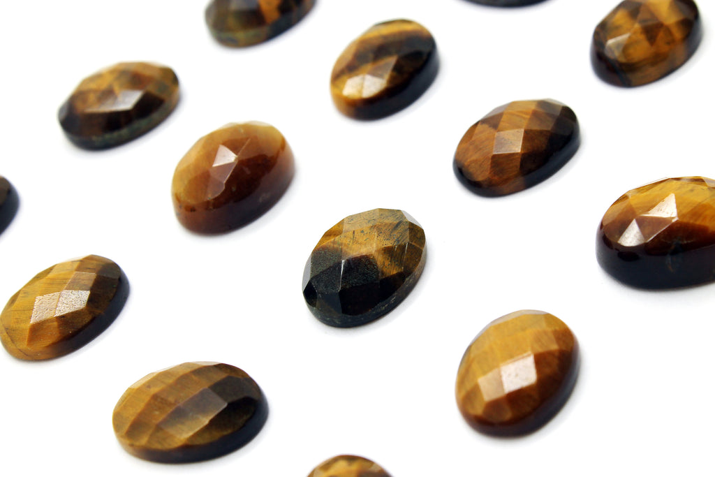 Oval Tiger Eye Gemstone Faceted Natural Cabochon Loose Wholesale Jewelry Making
