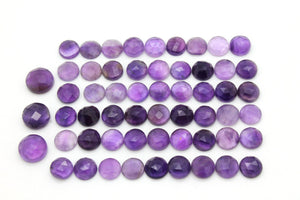 Natural Amethyst Round Gemstone AA Grade Purple Faceted Cabochon Loose Stone Gem