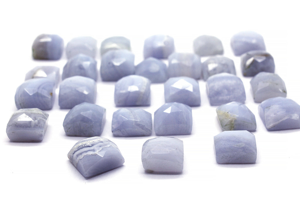 Blue Lace Agate Square Loose Faceted Cabochon Natural Rare AA Grade Gemstone