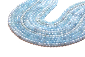 Round Aquamarine Smooth Beads Opaque 10mm Loose Gemstone Jewelry Making Supply