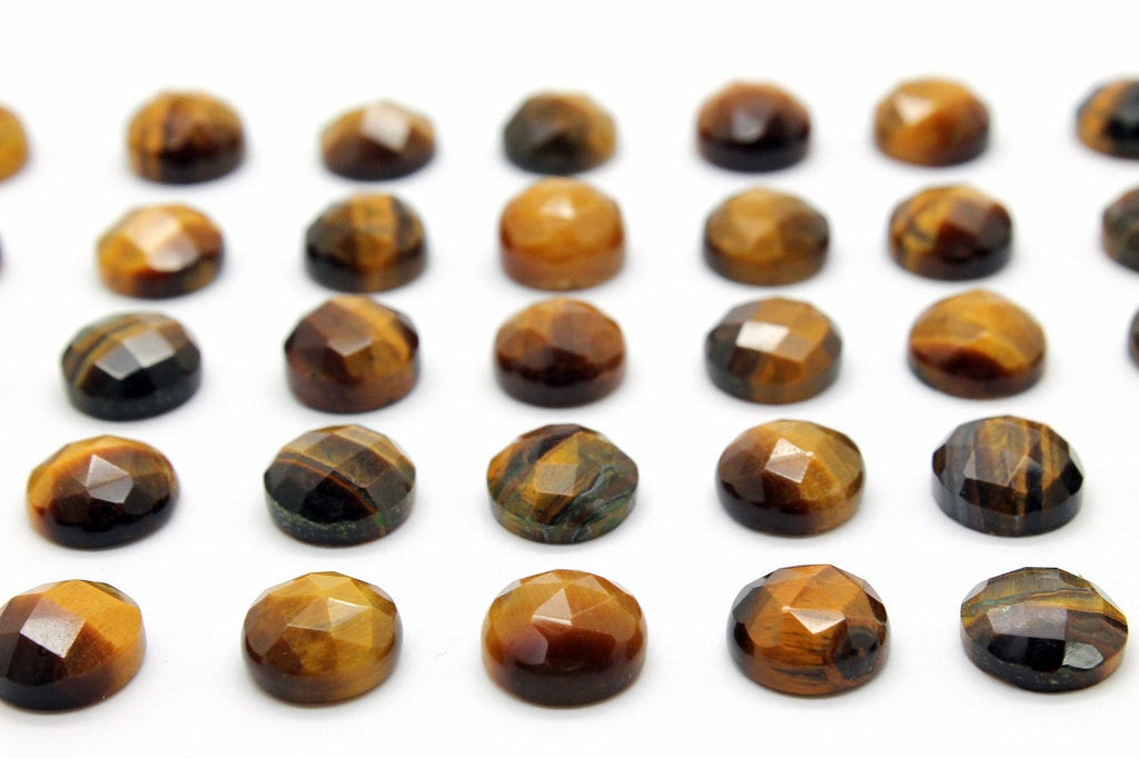 Natural Tiger Eye Gemstone Round 10mm Loose Faceted Cabochon DIY Jewelry Supply