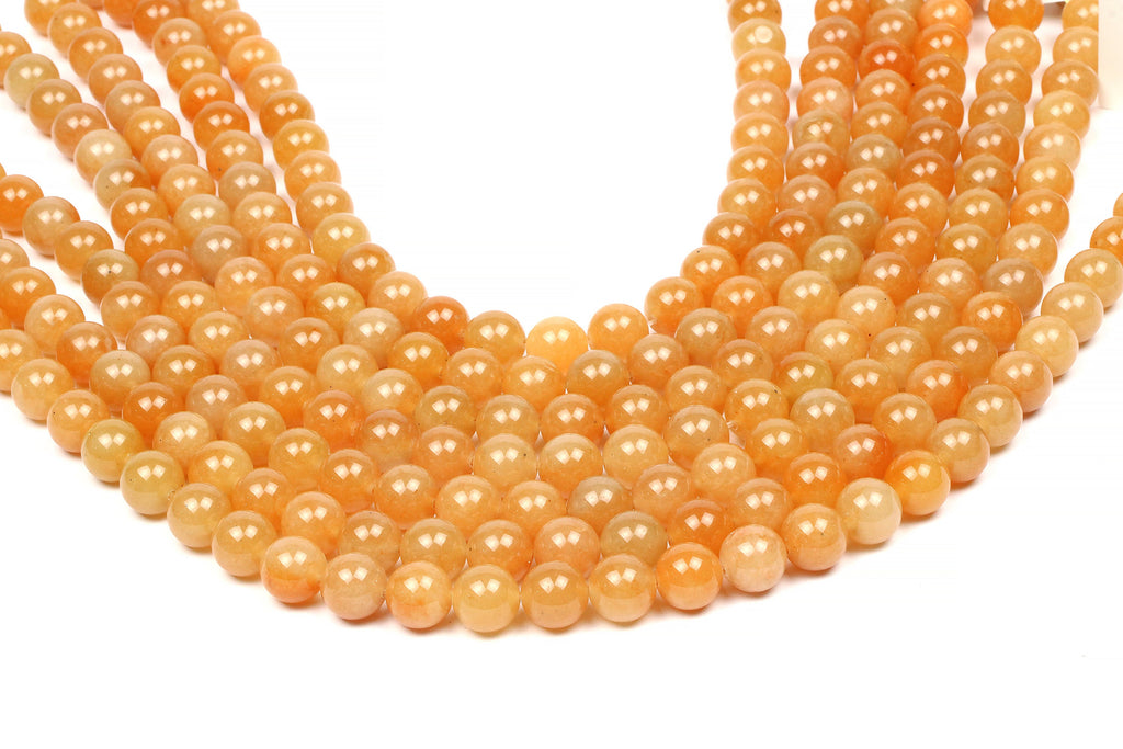 Orange Aventurine Round Beads Smooth Natural Loose Gemstone DIY Jewelry Material