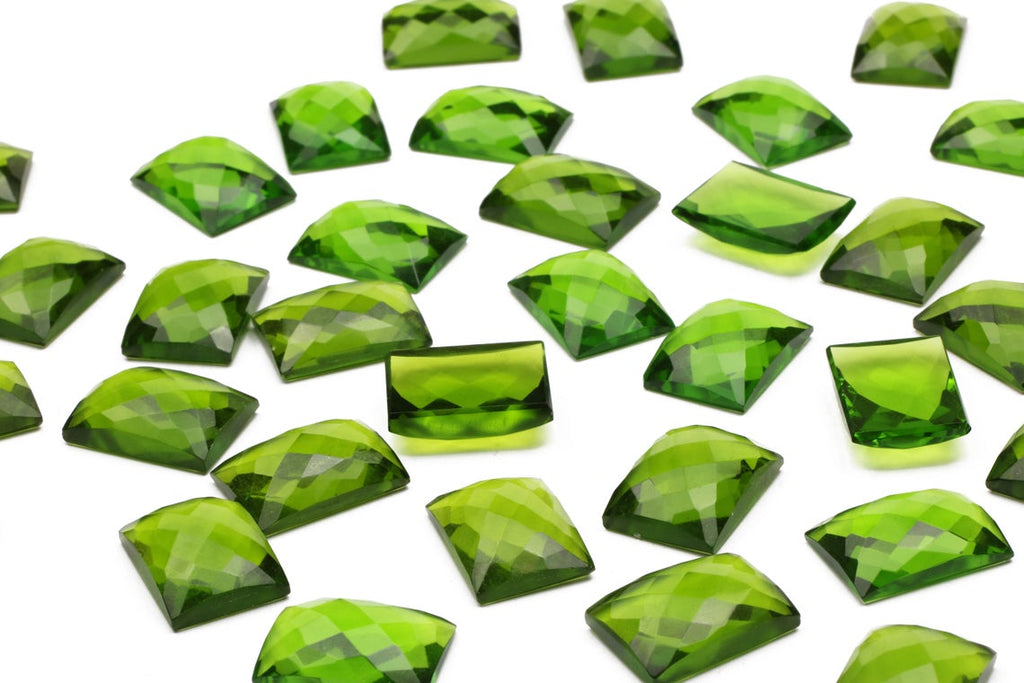 Peridot Gemstone Rectangle Loose Faceted Cabochon Lab Created DIY Jewelry Supply