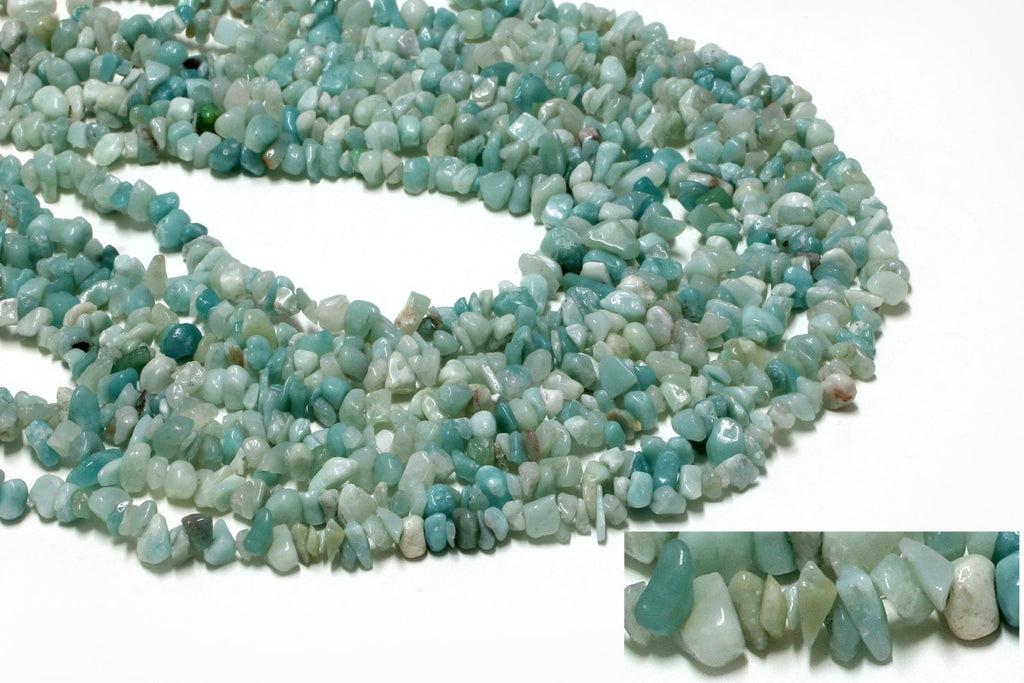 "Semi Precious Amazonite Chip Gemstone Beads 32"" Long Strand DIY Beaded Necklace"