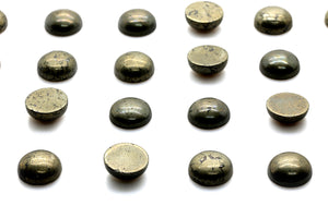 Round 8mm Pyrite Smooth Cabochon Loose Natural Gemstone Jewelry Making