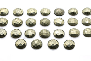 Natural Round Pyrite Gemstone Calibrated Faceted Cabochon DIY Jewelry Wholesale