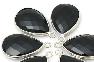 Faceted Black Obsidian Bezel Pendant 18x25mm Teardrop Gemstone Jewelry Supplies