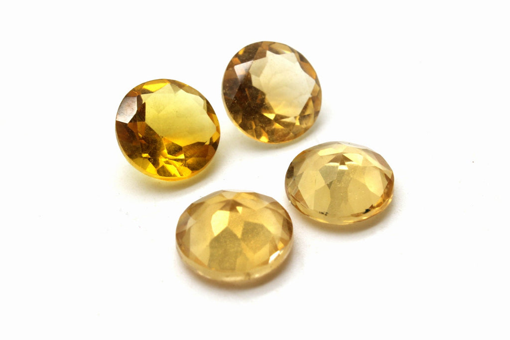 Heated Round Citrine Diamond Faceted Cut Loose AA Quality Gemstone Quartz Stone