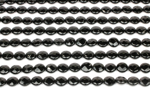 Black Natural Loose 16mm Onyx Beads Coin Gemstone Faceted Round Jewelry Making
