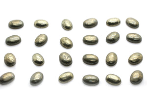 Natural Oval Pyrite Gemstone Smooth Cabochon Loose Jewelry Making Bulk Sale Gem