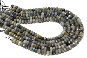 4x6mm Natural Labradorite Rondelles Faceted Loose Gemstone Wholesale DIY Beads