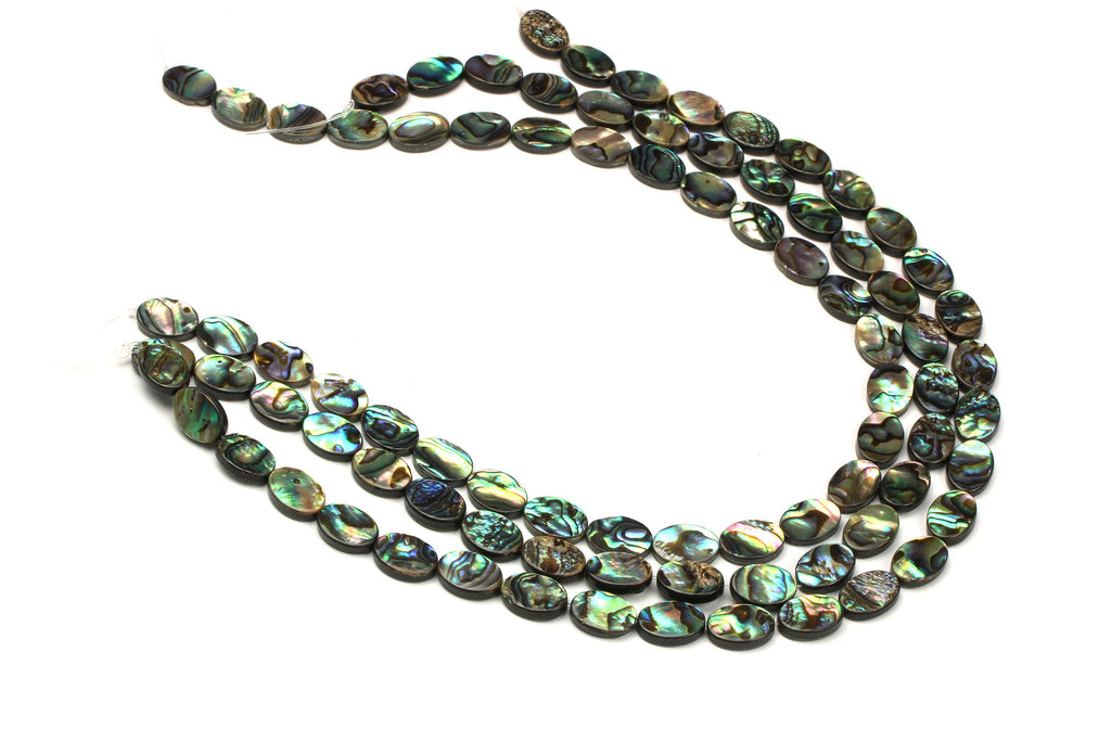 "Oval Natural Abalone Shell Loose Flat 16"" Strand Gemstone Beads Jewelry Making"