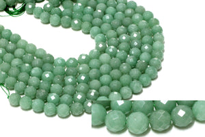 Wholesale Green Aventurine Faceted Gemstone Natural DIY Beads Round Loose Spacer