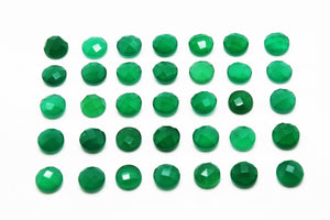 4mm Round Green Onyx Gemstone Faceted Cabochon Crystal Jewelry Making Supplies