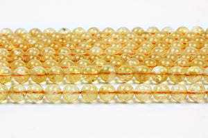 Round Citrine Gemstone Beads Smooth Spacer Jewelry Supply November Birthstone