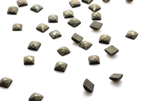Square Natural Pyrite 12x12mm Faceted Cabochon Loose AA Gemstone Jewelry Making