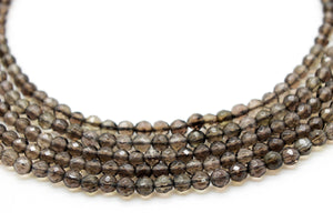 4mm Smoky Quartz Faceted Beads Loose Round Gemstone DIY Jewelry Supply Beadworks
