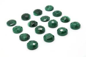 Green Malachite Faceted Cabochon Round Natural Gemstone Untreated Jewelry Stone