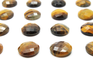 Round 16mm Tiger Eye Gemstone Natural Loose Faceted Cabochon DIY Jewelry Supply