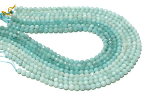 Round Natural Semi Precious Amazonite Gemstone Beads Knotted Beaded Necklace 16""