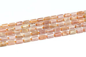 Natural Sunstone Drum Beads Faceted Loose Spacer Gemstone Jewelry Beading Supply