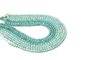 "Natural 16"" Amazonite Stone Beads Strand Round Faceted Gemstone Jewelry Making"